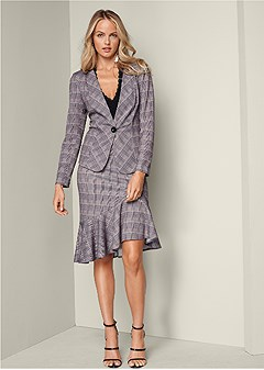 plaid skirt suit set
