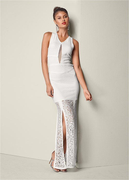 CUT OUT LACE MAXI DRESS,HIGH HEEL STRAPPY SANDALS