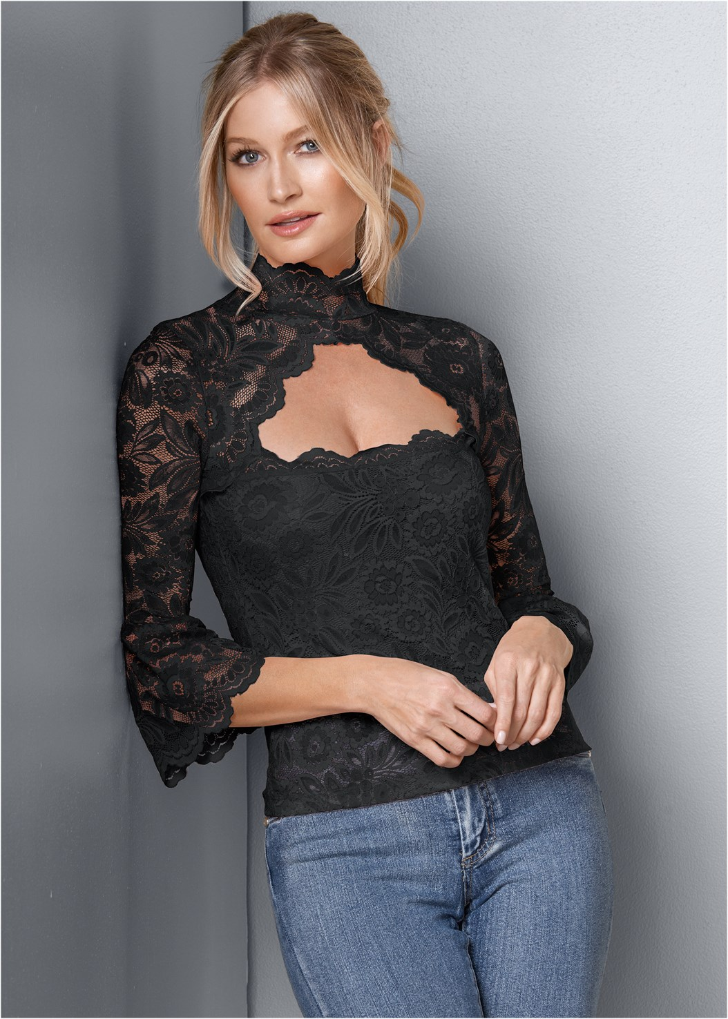 Lace Mock Neck Top,Mid Rise Color Skinny Jeans,High Heel Strappy Sandals