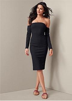 off the shoulder rib dress