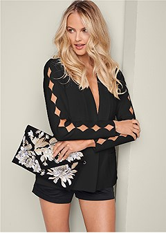 cutout detail sleeve jacket