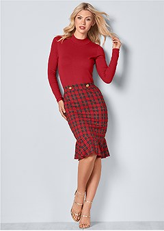 169e51e689 plaid detail sweater dress