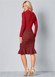Back View Plaid Detail Sweater Dress