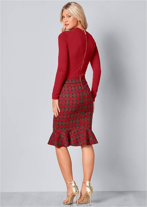 Back View Plaid Detail Sweater Dress
