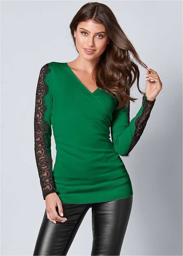 Lace Sleeve Detail Sweater,Faux Leather Pants