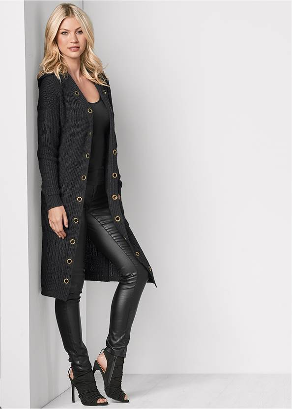 Grommet Detail Duster,Basic Cami Two Pack,Faux Leather Pants,Bow Detail Boots,Side Zipper Jeans