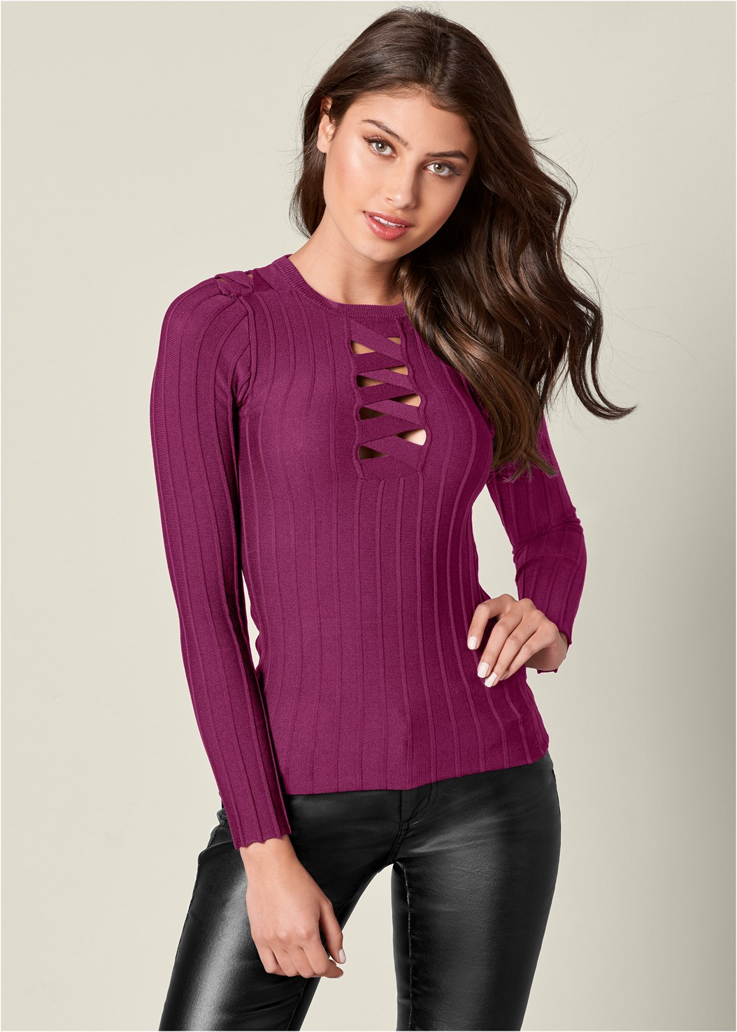 Strappy Detail Sweater,Faux Leather Pants
