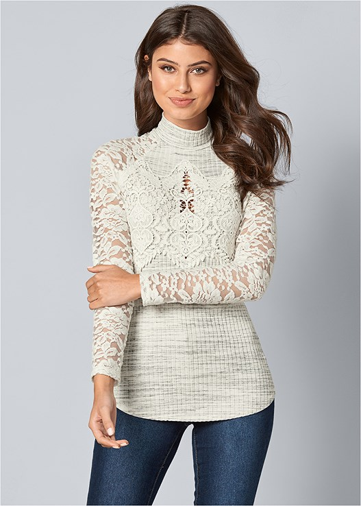 LACE DETAIL MOCK NECK TOP,COLOR SKINNY JEANS,PERFORATED BOOTS
