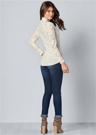 Back View Lace Detail Mock Neck Top