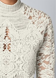 Alternate View Lace Detail Mock Neck Top