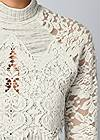 Alternate View Lace Detail Mock Neck Top