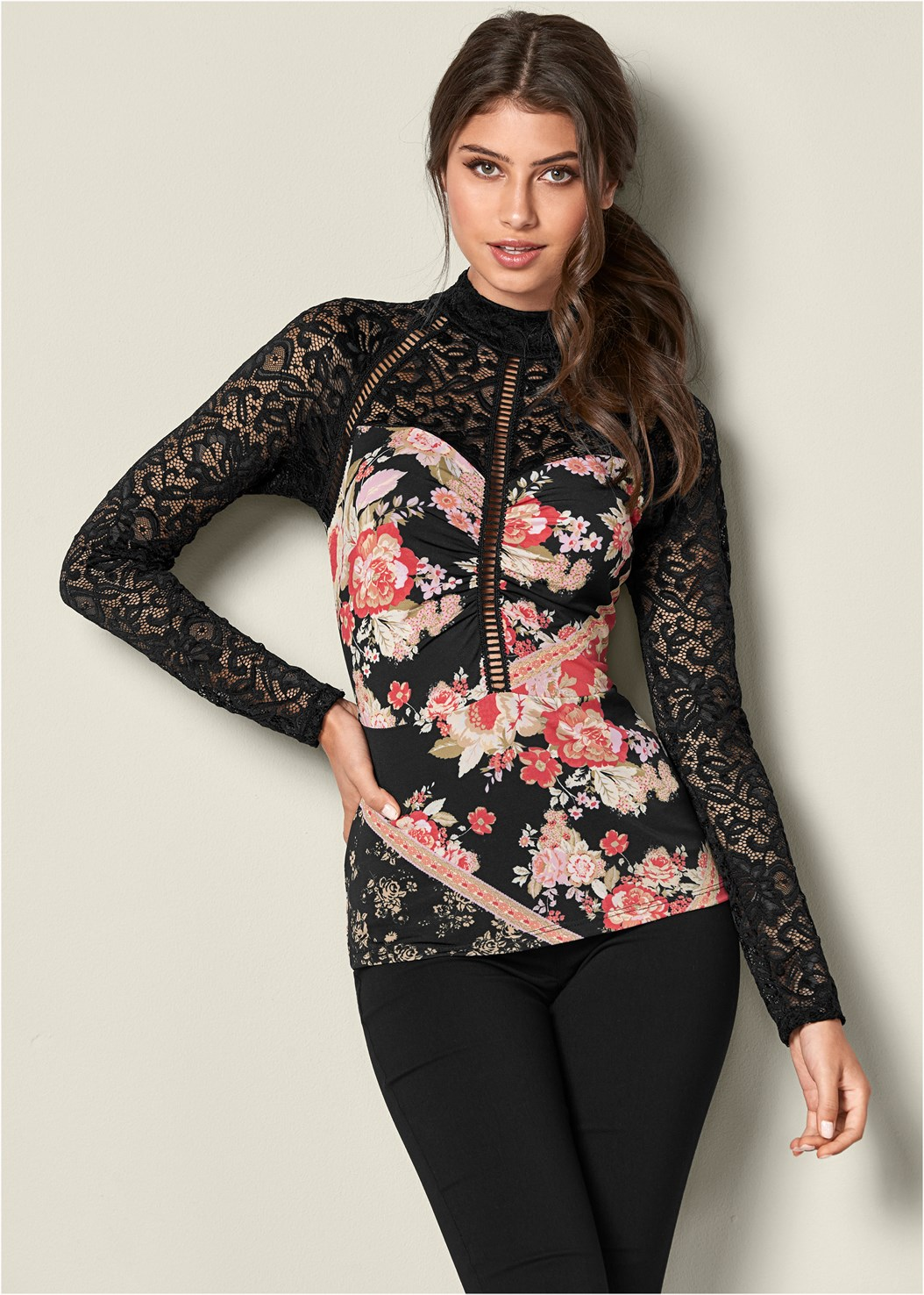 Lace Detail Mock Neck Top,Mid Rise Slimming Stretch Jeggings,Heel Embellished Boot,Faux Suede Pointy Booties