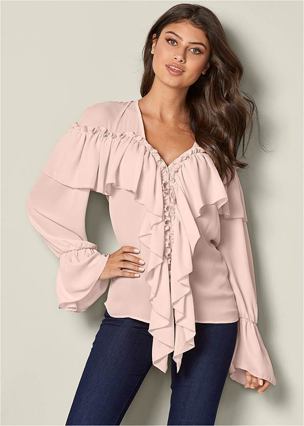 Front View Ruffle Detail Top