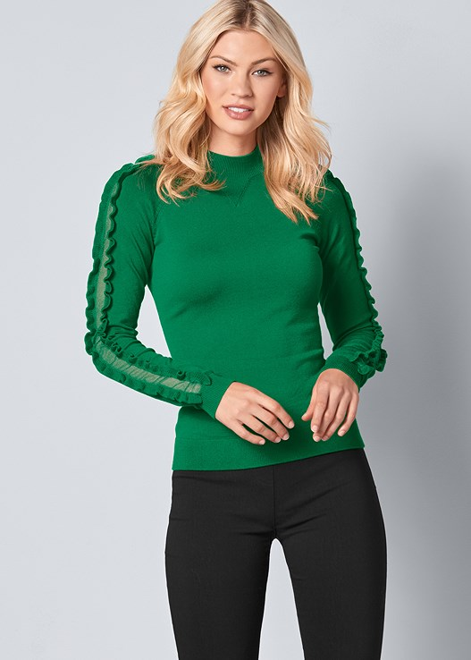 SLEEVE DETAIL SWEATER,SLIMMING STRETCH JEGGINGS