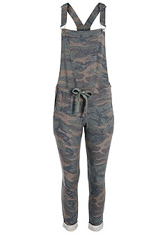 plus size camo print overalls