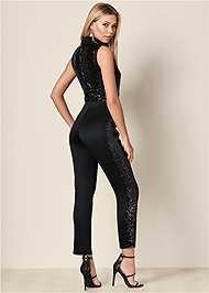 Back View Sequin Tuxedo Jumpsuit