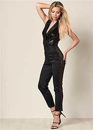 Front View Sequin Tuxedo Jumpsuit