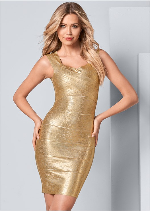 BANDAGE METALLIC DRESS,HIGH HEEL STRAPPY SANDALS