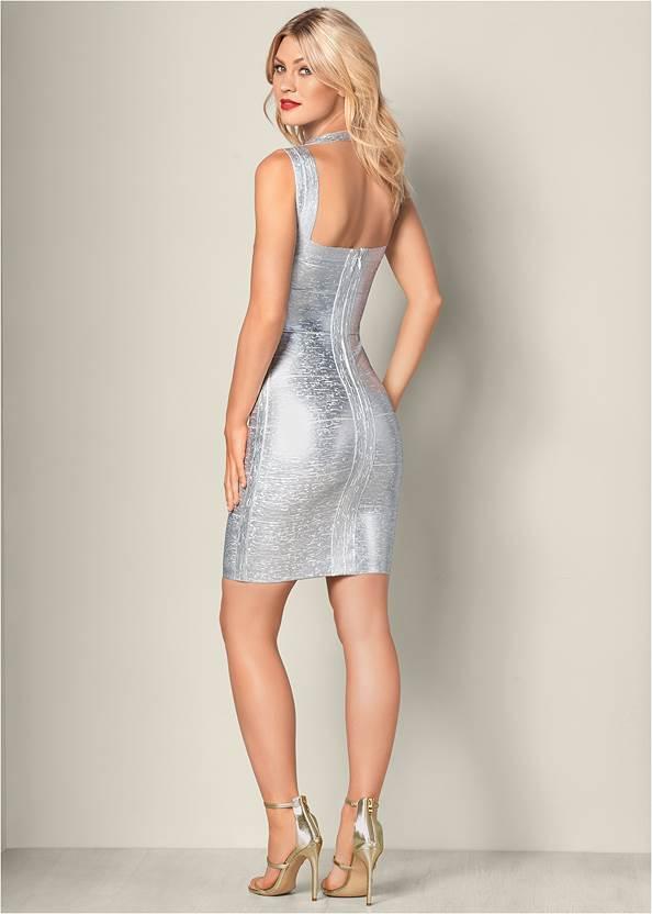 Back View Bandage Metallic Dress