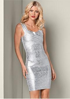 bandage metallic dress