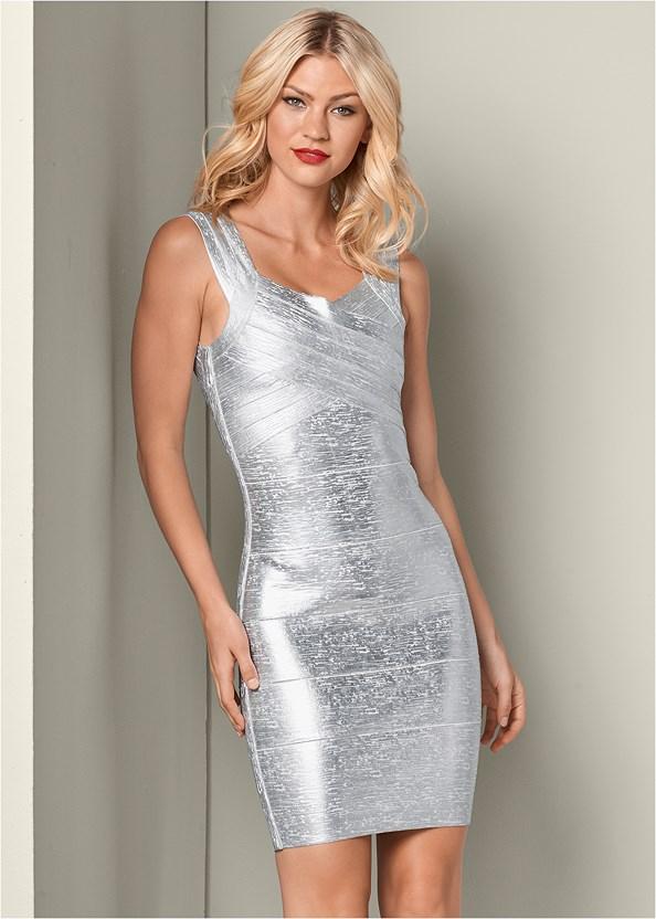 Bandage Metallic Dress,High Heel Strappy Sandals