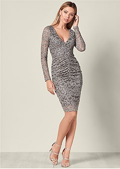 lace ruched detail dress