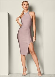 Front View Slimming Pearl Detail Dress