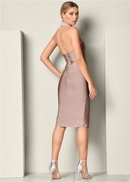 Back View Slimming Pearl Detail Dress