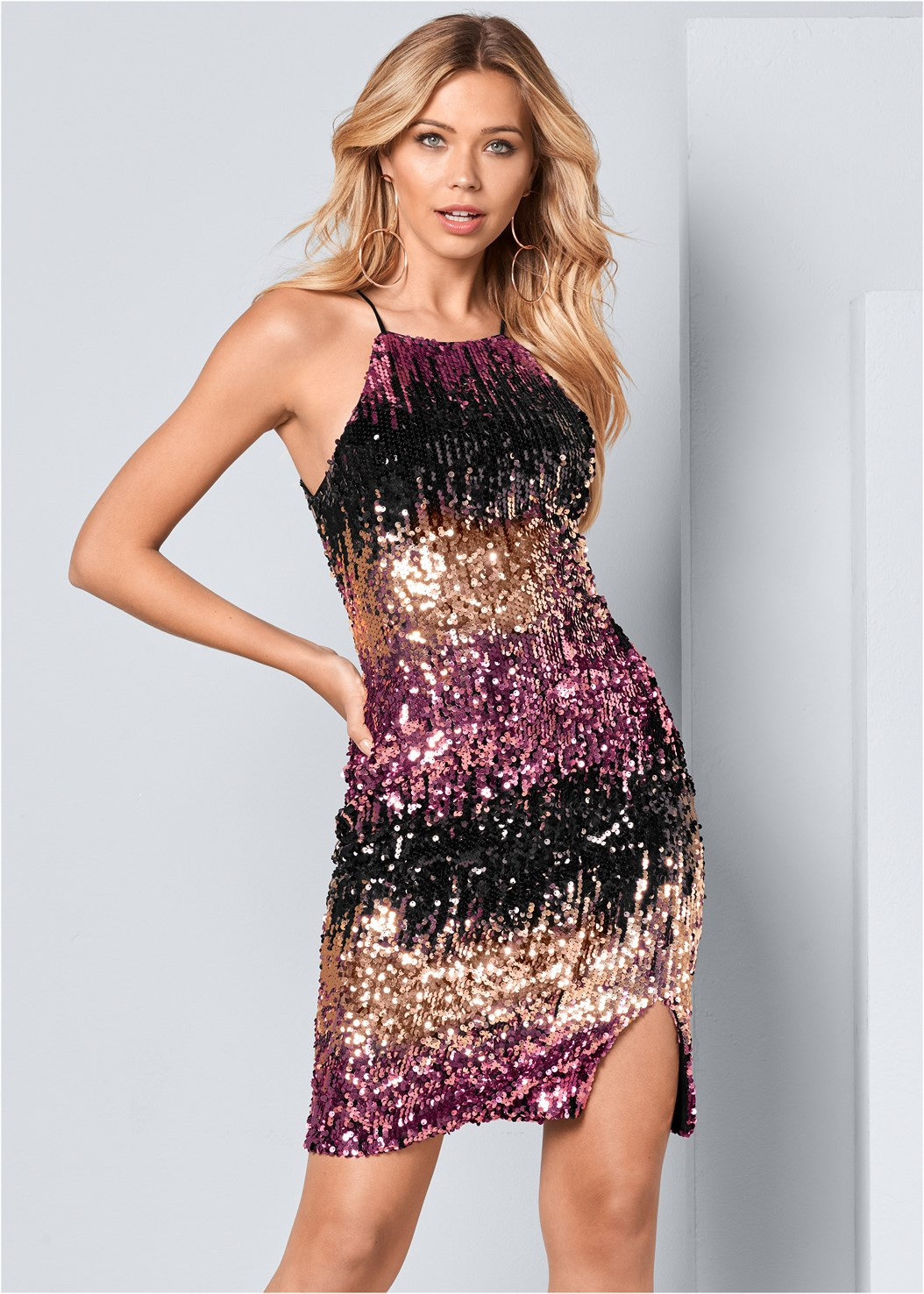 Sequin Ombre Dress,High Heel Strappy Sandals