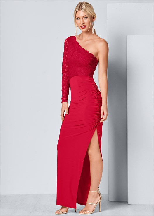 ONE SHOULDER LONG DRESS,HIGH HEEL STRAPPY SANDAL