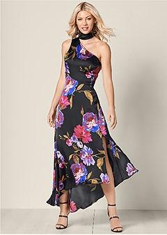 choker detail floral dress