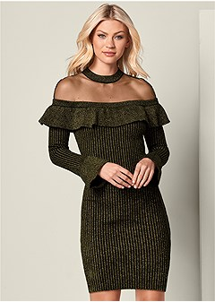ruffle detail sweater dress
