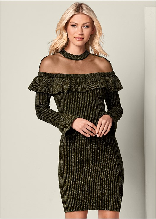 RUFFLE DETAIL SWEATER DRESS,HIGH HEEL STRAPPY SANDAL