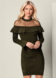 Front View Ruffle Detail Sweater Dress