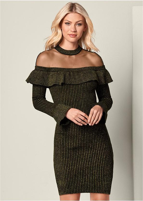 Ruffle Detail Sweater Dress,High Heel Strappy Sandals