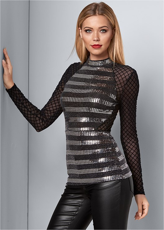 SEQUIN DETAIL MESH TOP,FAUX LEATHER PANTS,HIGH HEEL STRAPPY SANDALS