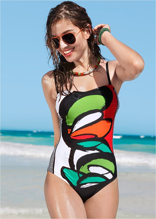 GRAPHIC PRINT ONE-PIECE,MESH WRAP SKIRT,OVERSIZED FLOPPY HAT
