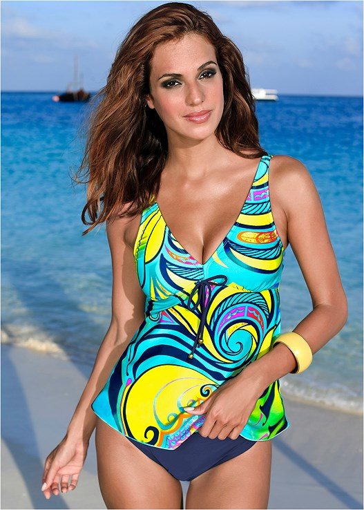 TIE FRONT TANKINI,MID RISE BOTTOM,MID RISE FULL CUT BOTTOM,SKIRTED SWIM BIKINI BOTTOM,MESH WRAP SKIRT