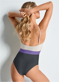 Back view Versatility By Venus ™ Color Block One-Piece