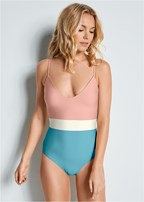 color block one piece