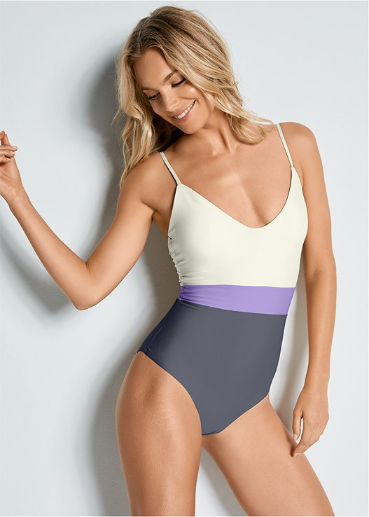 COLOR BLOCK ONE-PIECE