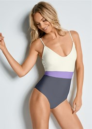 Front view Versatility By Venus ™ Color Block One-Piece