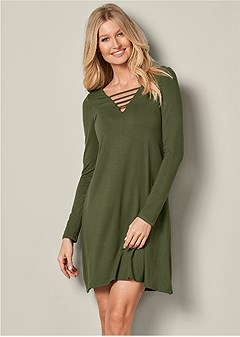 lattice detail casual dress