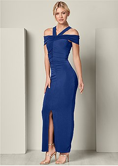 ruched detail long dress