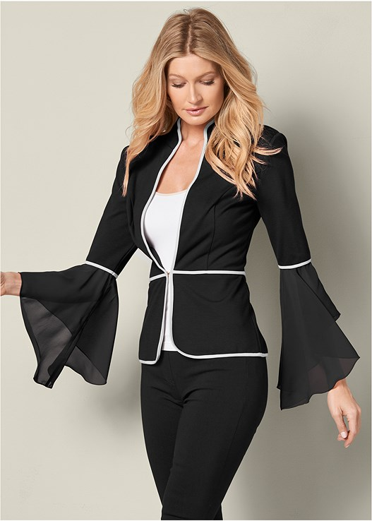SLEEVE DETAIL JACKET,SEAMLESS CAMI,SLIMMING STRETCH JEGGINGS,HIGH HEEL STRAPPY SANDALS