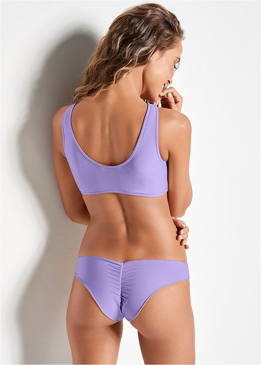 LOW RISE RUCHED BOTTOM,TWO IN ONE BIKINI TOP