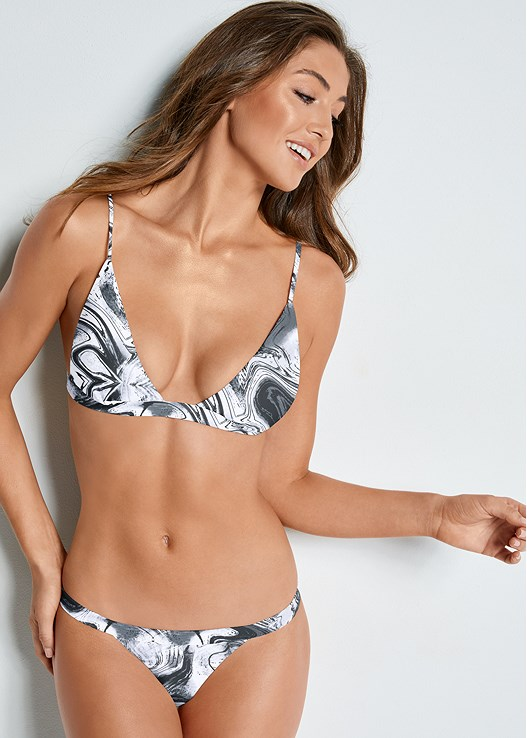 FIXED TRIANGLE BIKINI TOP,BANDED BRAZILIAN BOTTOM