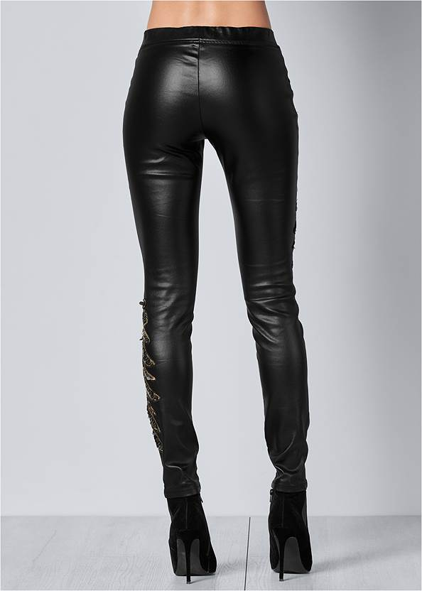 Back View Faux Leather Leggings