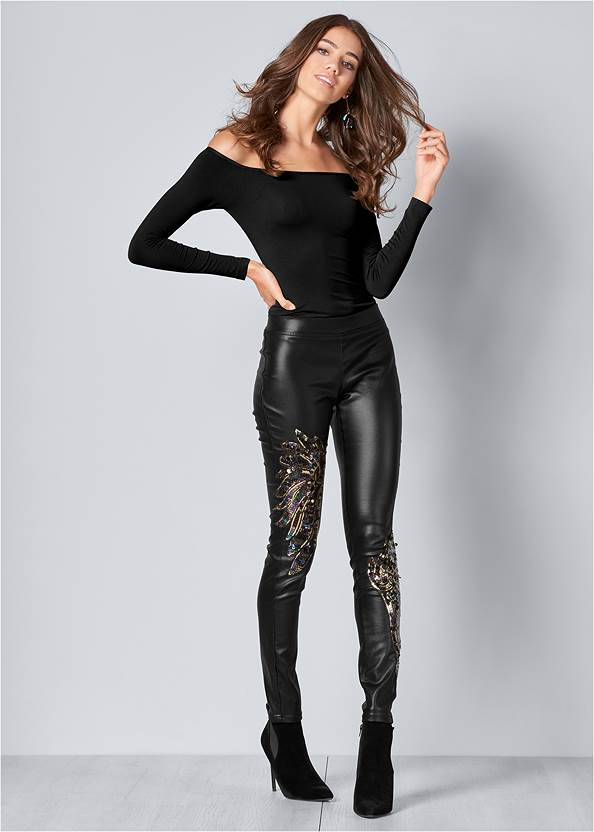 Faux Leather Leggings,Off The Shoulder Top
