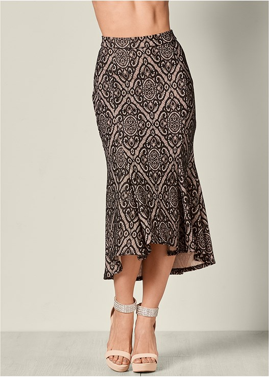 LACE MIDI SKIRT,SEAMLESS CAMI,GLITTER ANKLE STRAP HEELS